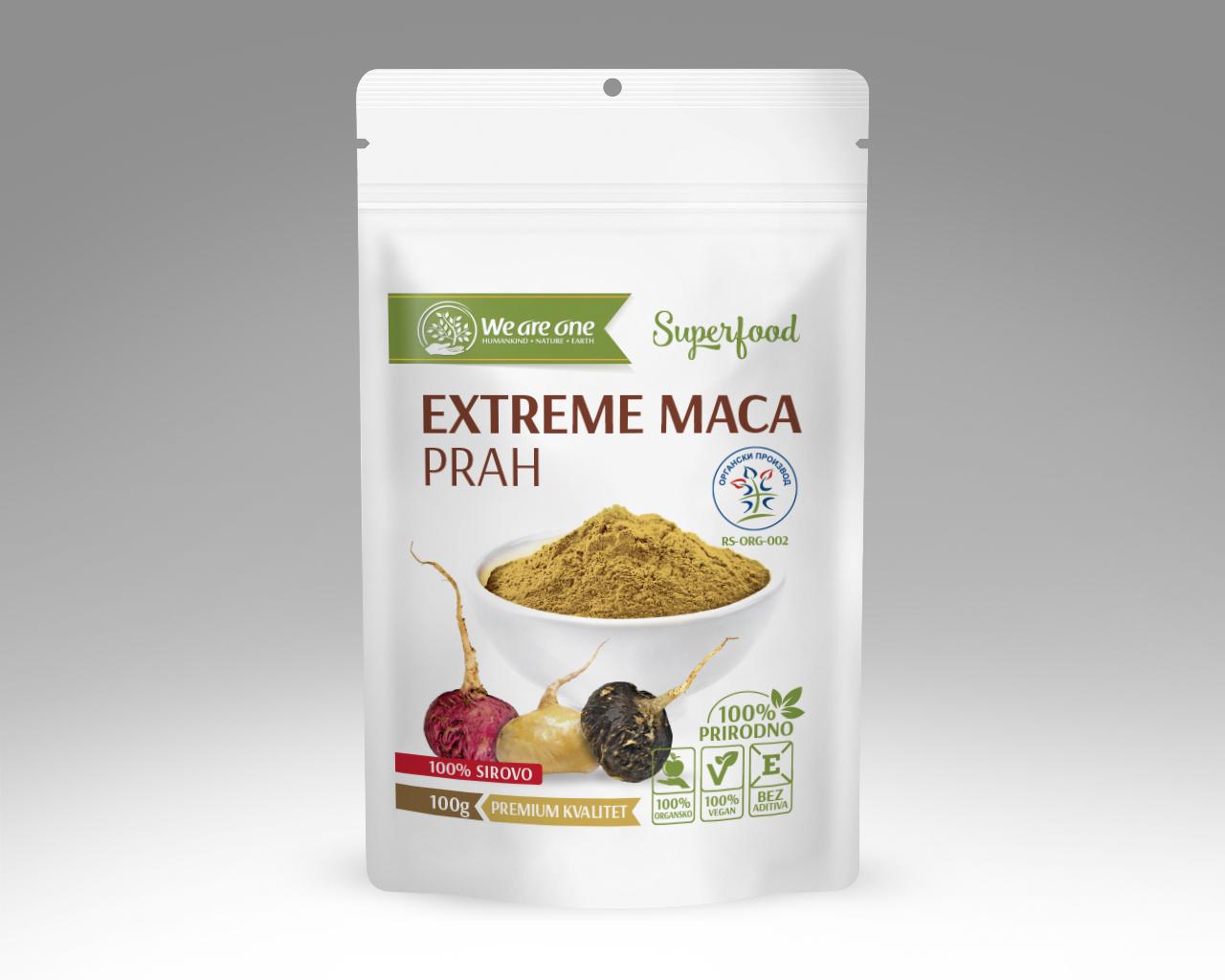 EXTREME MACA (MIX CRNE, ZLATNE, CRVENE MAKE) PRAH, WE ARE ONE 100G